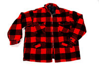 Vintage 60s Buffalo Plaid Wool Quilted Hunting Field Coat Retro Jacket Mens Med