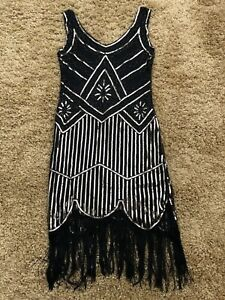 20'S STYLE FLAPPER CHARLESTON DECO Gatsby Downton SEQUIN DRESS SIZE L