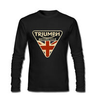 Men's Craked Union Jack Triumph Motorcycle UK Flag Long Sleeve T Shirts