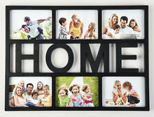 Black  HOME 6'x4'  Multi Picture Aperture Photo Frame Holds 6 Photos  - CL-9626