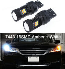 2X Dual Color Turn Signal Light Bulb White Yellow 7444NA W3X16D 992 7443 16-LED
