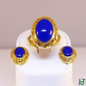 New Oval shaped Lapis Earrings & Ring Set, Filigree design in 14k Yellow Gold