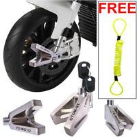 FD-MOTO Motorbike Motorcycle Scooter Disc lock Brake + 1.5m Reminder Chrome
