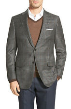 Hickey Freeman Beacon Wool Cashmere Brown Check Sport Coat 42 R