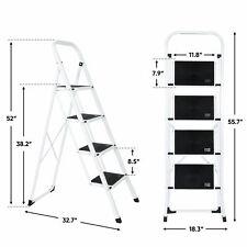 4 Steps Ladder Folding Anti Slip Safety Tread Industrial Use 300lbs Load Garden