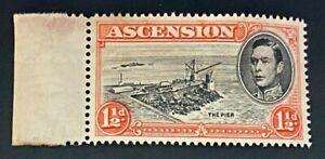 Ascension KGVI 1938-53 SG40cb 1½d Cut Mast & Railings Mint Cat £400