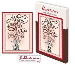 Hochzeitskarte All you need is love mit 70gr Vollmilchschokolade Kunstgrußkarte
