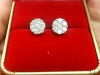 Deal! 10K Gold 1.05 CTW Round Genuine Diamond Cluster Flower Studs Earrings 8MM