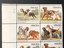 Vintage 1984 USPS Block of 16 Stamps DOG BREEDS Scott 2098-2101 Mr Zip 20c MNH