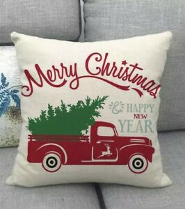 Merry Christmas Pillow Cover 17 x 17 Inch Christmas Pillow Cover Red Truck Chri