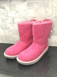 Kid's UGG Mini Bailey Bow II Pink Boots- size 6- #1017397