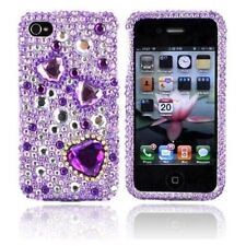 For Apple iPhone 4 4S Crystal Diamond BLING Hard Case Phone Cover Purple Hearts