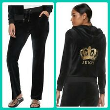 New Women's Juicy Couture Tracksuit Black Small Velour Hoodie Pants 2pc Gym Set