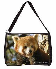 Red Panda Bear 'Love You Mum' Large Black Laptop Shoulder Bag School, ARP-1lymSB