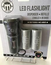 Pet Waste POOP Bag Dispenser With Built In LED Flashlight 3 Rolls/45 Bags