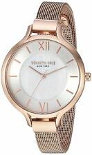 Kenneth Cole 34mm Mother of Pearl Dial Rose Gold Mesh Womens Watch KC15187008 SD