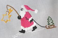 Santa Catches A Falling Star & Christmas Trees! Vtg German Hand Emb Tablecloth