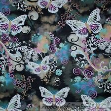 BonEful FABRIC Cotton Quilt B&W Purple Gray Butterfly Flower Gothic Scroll SCRAP