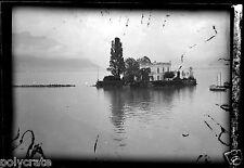 Paysage inondation ? lac maison - Négatif photo ancien an 1930