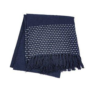 Navy / Dark Blue Blanket Throw ~ White Stitch Design ~ Sass & Belle