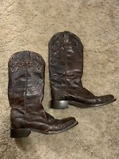 Stetson Handtooled Womens Jolie Brown Leather Cowboy Boots Size 7