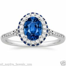 2.20ct Oval Blue Sapphire Diamond Engagement Ring Solid 14k White Gold
