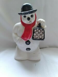 Vintage 1940s Plastic Snowman With Cigar In Mouth Light