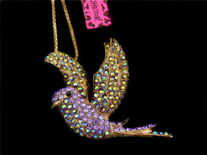 Betsey Johnson Crystal Lovely Peace Dove Bird Pendant Sweater Chain Necklace