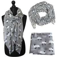Women Sheep Print Scarf Fashion Farm Animal Lady Wrap Neck Shawl Soft Stole 2018