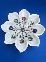 """12"""" Marble White Fruit Serving Bowl Multi Marquetry Inlay Floral Art Decor E1154"""