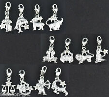 24 Mixed Silver Plated Clear Rhinestone Zodiac Clip On Charms