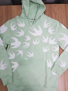 MCQ % 100 Authentic Men SWALLOW  COTTON hoddie   green -WHITE