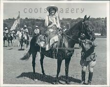 1939 Physically Challenged Woman C Kerr on Horseback Polo Game Press Photo