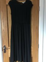 Boden Black Velvet Trimmed Jersey Dress 14R Unworn