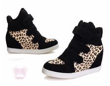 Women's Wedge Hidden Heel Leopard Print Sneakers Sports High Top Creepers Shoes