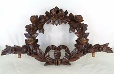 Antique French Superb Hand Carved Wood Mahogany Pediment - Crown of Roses