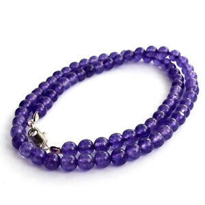 """Pretty 6mm Natural Russian Purple Amethyst Gemstone Round Beads Necklace 18"""" AAA"""