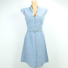 GITTA PLOTNICKI Kleid Dress Jeansblau Dots Punkte Gürtel Gr. 34 XS