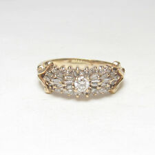 Estate 14K Yellow Gold 0.16 Ct Round Brilliant Cut Diamond Ring 0.70 Cts Total