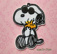 Wearing Sunglasses Snoopy Embrace Woodstock Embroidered Cloth Iron On Patch Dog
