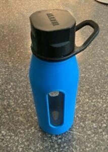Takeya 16 oz. Glass Travel Tumbler Water Bottle Blue Silicone Sleeve Screw Top