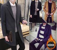 Men's Lapel Outwear Trench Coat Long Single Breasted Overcoat Jacket Parka Slim