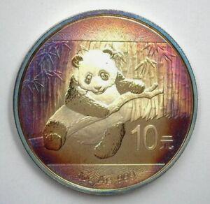 Scarce Rare Genuine 2014 China Pure Silver Panda 10 Yuan Deep Rainbow Toning UNC