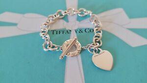 Authentic Rare Vintage Tiffany & Co Chunky Plain Heart Toggle Bracelet