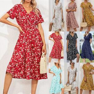 Womens Holiday Summer Dress Floral Sundress Ladies Beach Party V Neck Dresses UK