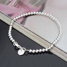CHEAP Womens Jewelry 925 Sterling Silver Beads Cuff String Chain Bracelet Bangle
