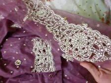 Saree Sari Lavendar Stone Pearl Work Net Diwali Eid Wedding