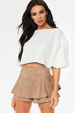Layered Ruffled Frill Overlay High Waisted Zip Back Suede Skirt Skorts Shorts