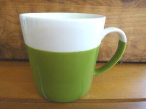 Crate and Barrel 2-Tone White & Green Porcelain 18 Oz. Cocoa/Coffee/Tea Mug