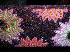 Clutch Hand-Held Purse Beaded Floral Metallic Pink Purple Spring Wedding Party